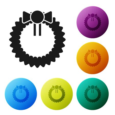 Black Christmas wreath icon isolated on white background. Merry Christmas and Happy New Year. Set icons colorful circle buttons. Vector Illustration Standard-Bild - 134790055