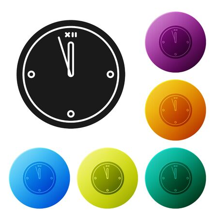 Black Clock icon isolated on white background. Time symbol. Merry Christmas and Happy New Year. Set icons colorful circle buttons. Vector Illustration