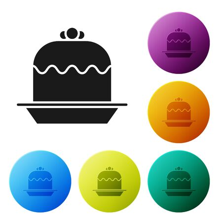 Black Cake icon isolated on white background. Happy Birthday. Set icons colorful circle buttons. Vector Illustration Foto de archivo - 134803063
