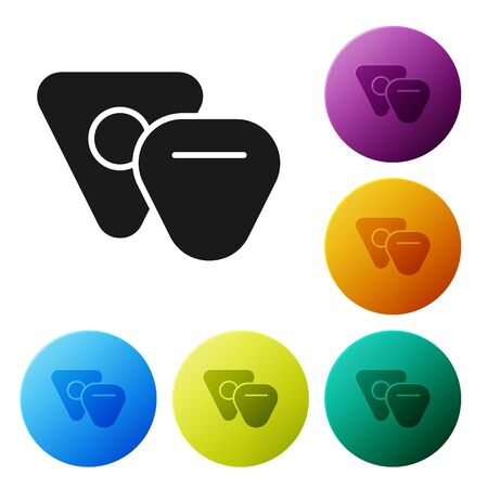 Black Guitar pick icon isolated on white background. Musical instrument. Set icons colorful circle buttons. Vector Illustration