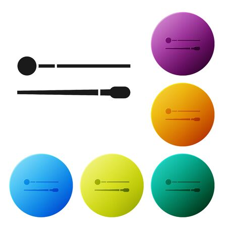 Black Drum sticks icon isolated on white background. Musical instrument. Set icons colorful circle buttons. Vector Illustration