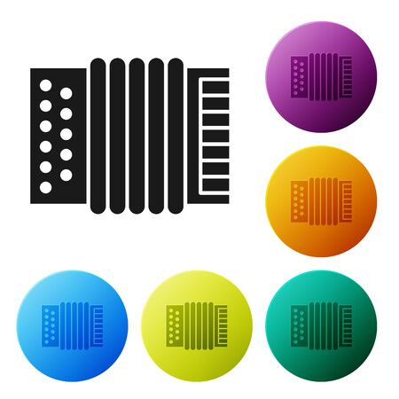 Black Musical instrument accordion icon isolated on white background. Classical bayan, harmonic. Set icons colorful circle buttons. Vector Illustration Foto de archivo - 134803087