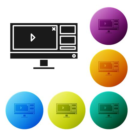 Black Video recorder or editor software on computer monitor icon isolated on white background. Set icons colorful circle buttons. Vector Illustration