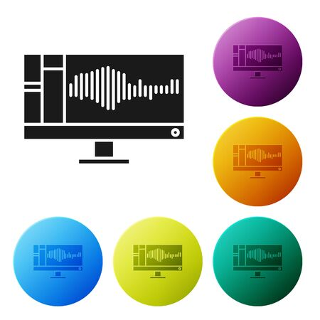 Black Sound or audio recorder or editor software on computer monitor icon isolated on white background. Set icons colorful circle buttons. Vector Illustration