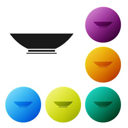 Black Bowl icon isolated on white background. Set icons colorful circle buttons. Vector Illustration