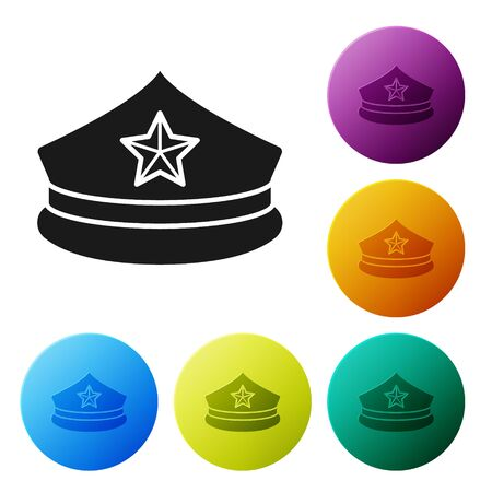 Black Police cap with cockade icon isolated on white background. Police hat sign. Set icons colorful circle buttons. Vector Illustration