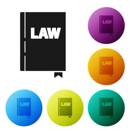 Black Law book icon isolated on white background. Legal judge book. Judgment concept. Set icons colorful circle buttons. Vector Illustration Ilustrace