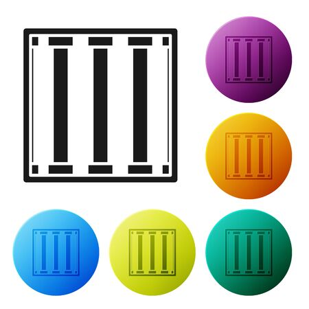Black Prison window icon isolated on white background. Set icons colorful circle buttons. Vector Illustration 일러스트