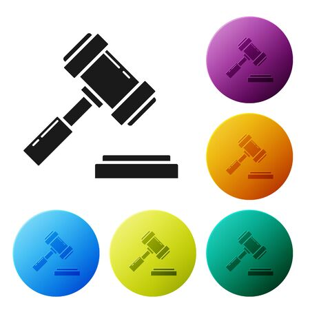 Black Judge gavel icon isolated on white background. Gavel for adjudication of sentences and bills, court, justice. Auction hammer. Set icons colorful circle buttons. Vector Illustration