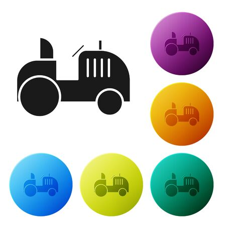Black Tractor icon isolated on white background. Set icons colorful circle buttons. Vector Illustration