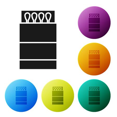 Black Open matchbox and matches icon isolated on white background. Set icons colorful circle buttons. Vector Illustration