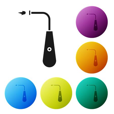 Black Long electric lighter icon isolated on white background. Set icons colorful circle buttons. Vector Illustration Standard-Bild - 134790374