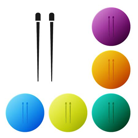 Black Food chopsticks icon isolated on white background. Wooden Chinese sticks for Asian dishes. Oriental utensils. Set icons colorful circle buttons. Vector Illustration Illustration