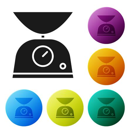 Black Scales icon isolated on white background. Weight measure equipment. Set icons colorful circle buttons. Vector Illustration Stock fotó - 134803696