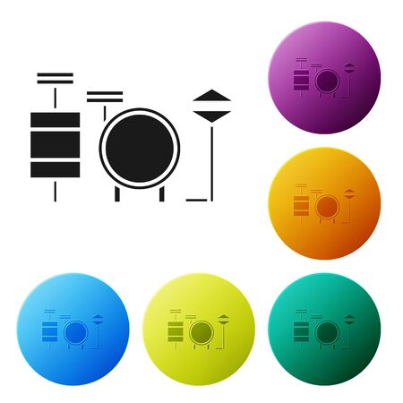 Black Drums icon isolated on white background. Music sign. Musical instrument symbol. Set icons colorful circle buttons. Vector Illustration