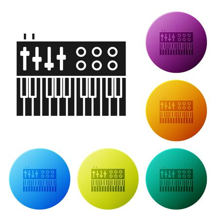 Black Music synthesizer icon isolated on white background. Electronic piano. Set icons colorful circle buttons. Vector Illustration
