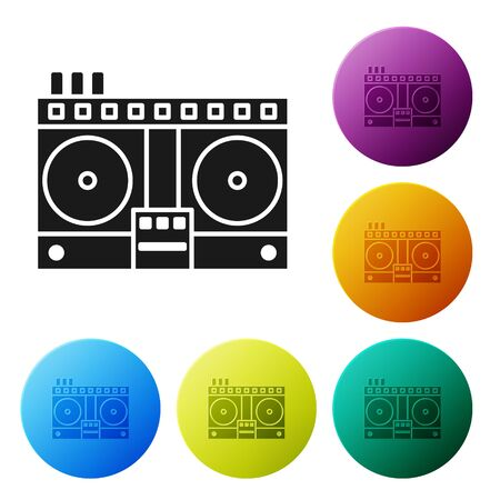 Black DJ remote for playing and mixing music icon isolated on white background. DJ mixer complete with vinyl player and remote control. Set icons colorful circle buttons. Vector Illustration