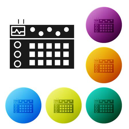Black Drum machine icon isolated on white background. Musical equipment. Set icons colorful circle buttons. Vector Illustration Illustration