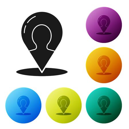 Black Map marker with a silhouette of a person icon isolated on white background. GPS location symbol. Set icons colorful circle buttons. Vector Illustration 일러스트