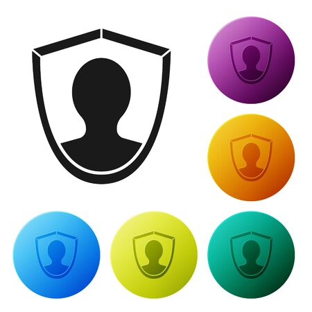Black User protection icon isolated on white background. Secure user login, password protected, personal data protection, authentication. Set icons colorful circle buttons. Vector Illustration