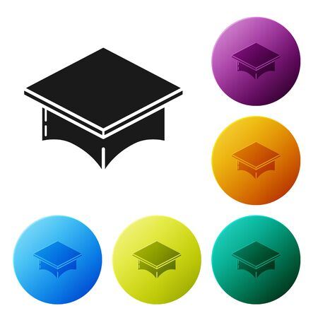 Black Graduation cap icon isolated on white background. Graduation hat with tassel icon. Set icons colorful circle buttons. Vector Illustration Illusztráció