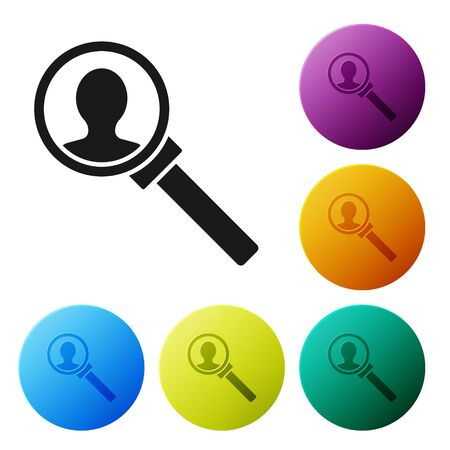 Black Magnifying glass for search icon isolated on white background. Recruitment or selection concept. Search for employees and job. Set icons colorful circle buttons. Vector Illustration