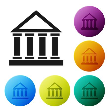 Black Courthouse building icon isolated on white background. Set icons colorful circle buttons. Vector Illustration