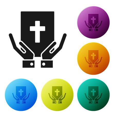 Black Oath on the Holy Bible icon isolated on white background. The procedure in court. Truth and truth. Promise before god. Set icons colorful circle buttons. Vector Illustration