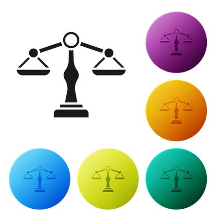 Black Scales of justice icon isolated on white background. Court of law symbol. Balance scale sign. Set icons colorful circle buttons. Vector Illustration