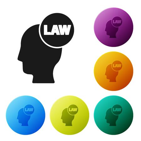 Black Head with law icon isolated on white background. Set icons colorful circle buttons. Vector Illustration