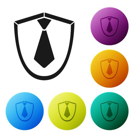 Black Tie icon isolated on white background. Necktie and neckcloth symbol. Set icons colorful circle buttons. Vector Illustration 일러스트