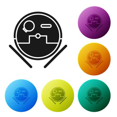 Black Robot vacuum cleaner icon isolated on white background. Home smart appliance for automatic vacuuming, digital device for house cleaning. Set icons colorful circle buttons. Vector Illustration