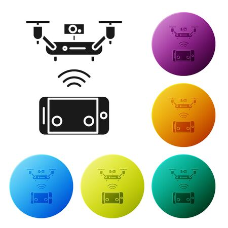 Black Remote aerial drone with a camera taking photography or video recording icon isolated on white background. Set icons colorful circle buttons. Vector Illustration