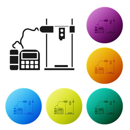 Black 3D printer icon isolated on white background. Set icons colorful circle buttons. Vector Illustration Ilustracja
