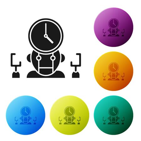 Black Robot and digital time manager icon isolated on white background. Time management assistance, workflow optimization help. Set icons colorful circle buttons. Vector Illustration