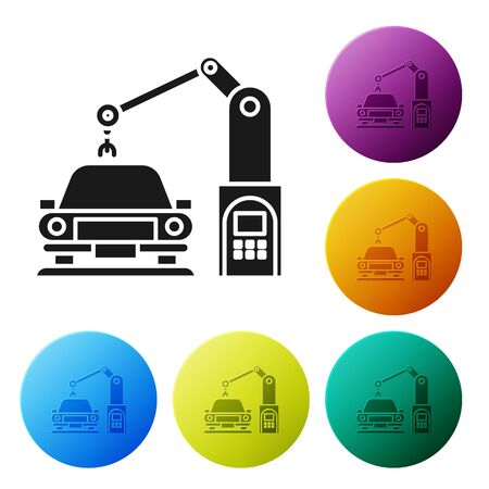 Black Industrial machine robotic robot arm hand on car factory icon isolated on white background. Industrial automation production automobile. Set icons colorful circle buttons. Vector Illustration Illustration