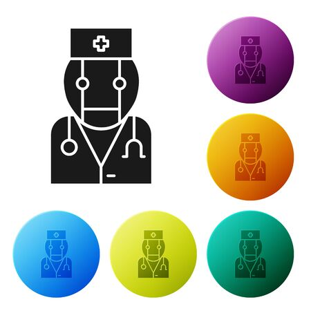 Black Robot doctor icon isolated on white background. Medical online consultation robotic silhouette artificial intelligence. Set icons colorful circle buttons. Vector Illustration