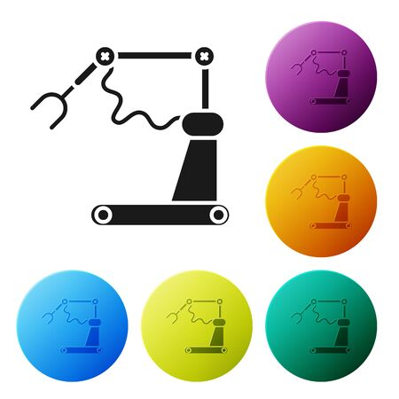 Black Industrial machine robotic robot arm hand factory icon isolated on white background. Industrial robot manipulator. Set icons colorful circle buttons. Vector Illustration