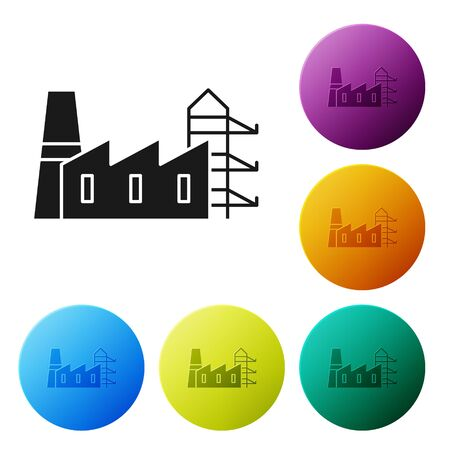 Black Power station plant and factory icon isolated on white background. Energy industrial concept. Set icons colorful circle buttons. Vector Illustration Иллюстрация