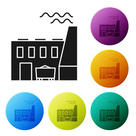 Black Coal power plant and factory icon isolated on white background. Energy industrial concept. Coal power station. Set icons colorful circle buttons. Vector Illustration