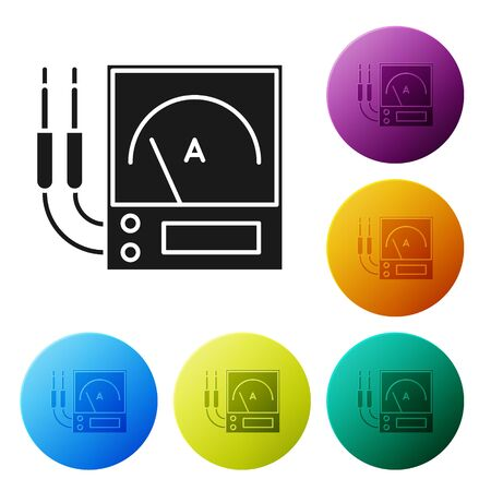 Black Ampere meter, multimeter, voltmeter icon isolated on white background. Instruments for measurement of electric current. Set icons colorful circle buttons. Vector Illustration