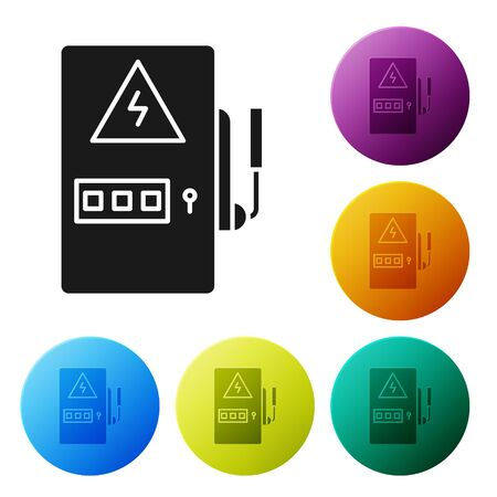 Black Electrical panel icon isolated on white background. Set icons colorful circle buttons. Vector Illustration