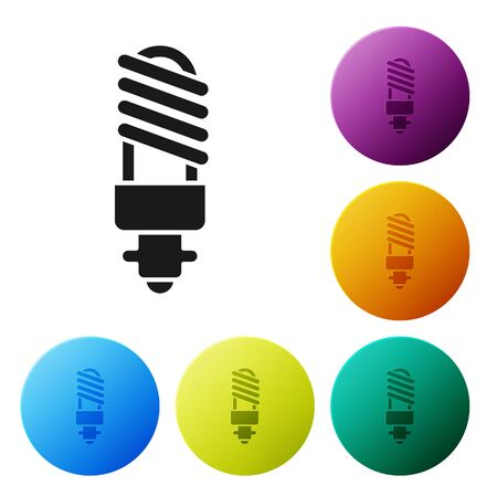 Black LED light bulb icon isolated on white background. Economical LED illuminated lightbulb. Save energy lamp. Set icons colorful circle buttons. Vector Illustration