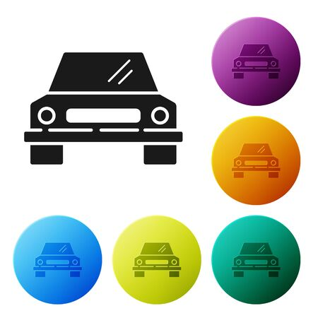 Black Car icon isolated on white background. Front view. Set icons colorful circle buttons. Vector Illustration Foto de archivo - 134794214