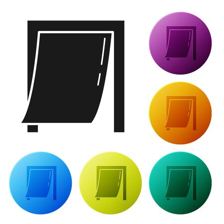 Black Door for pet icon isolated on white background. Set icons colorful circle buttons. Vector Illustration Çizim