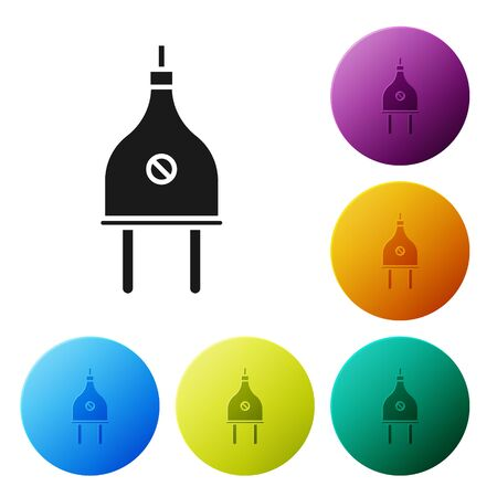 Black Electric plug icon isolated on white background. Concept of connection and disconnection of the electricity. Set icons colorful circle buttons. Vector Illustration