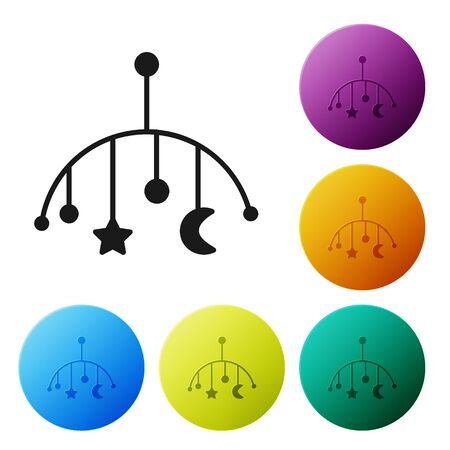 Black Baby crib hanging toys icon isolated on white background. Baby bed carousel. Set icons colorful circle buttons. Vector Illustration