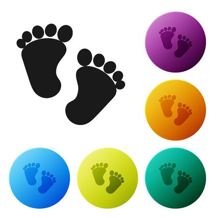 Black Baby footprints icon isolated on white background. Baby feet sign. Set icons colorful circle buttons. Vector Illustration