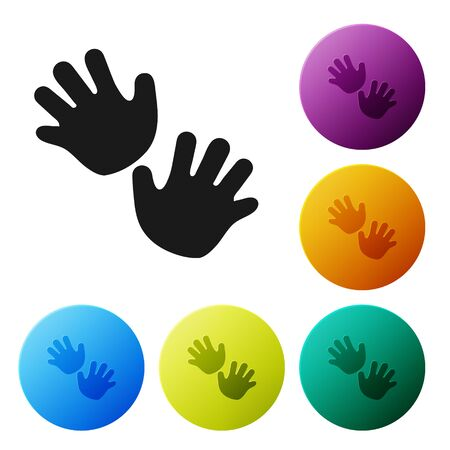 Black Baby hands print icon isolated on white background. Set icons colorful circle buttons. Vector Illustration