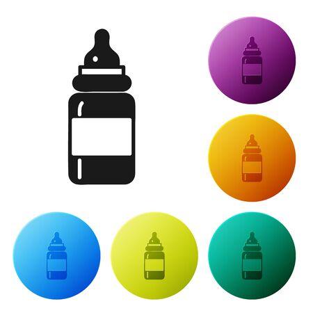 Black Baby bottle icon isolated on white background. Feeding bottle icon. Milk bottle sign. Set icons colorful circle buttons. Vector Illustration